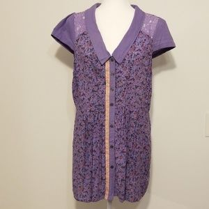 Free People floral purple peplum blouse
